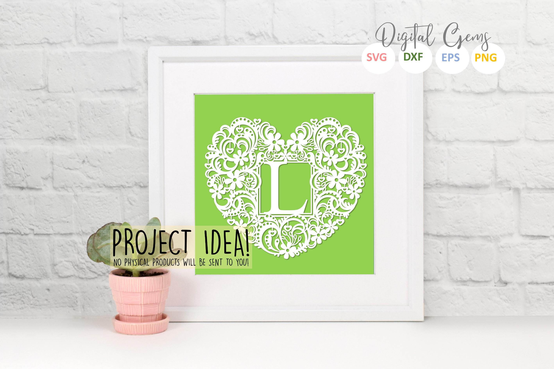 Letter L paper cut design. SVG / DXF / EPS / PNG files example image 2