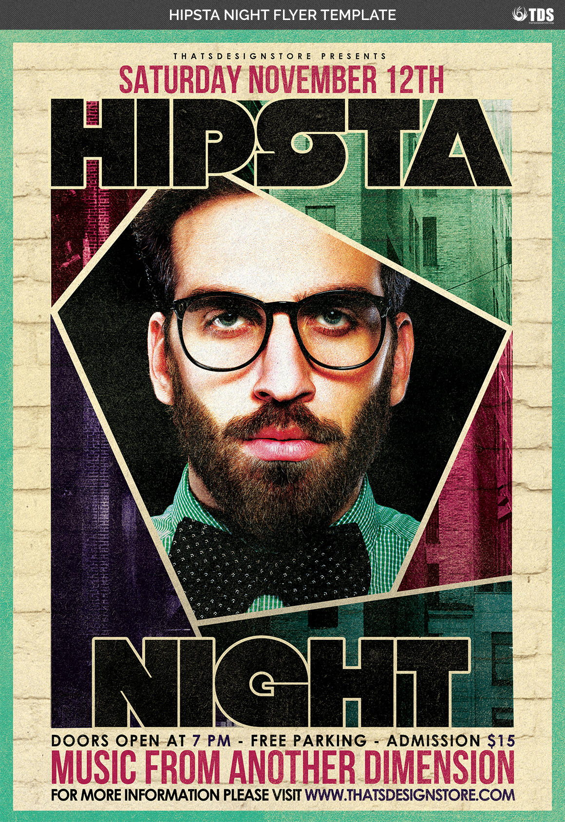 Hipsta Night Flyer Template example image 4