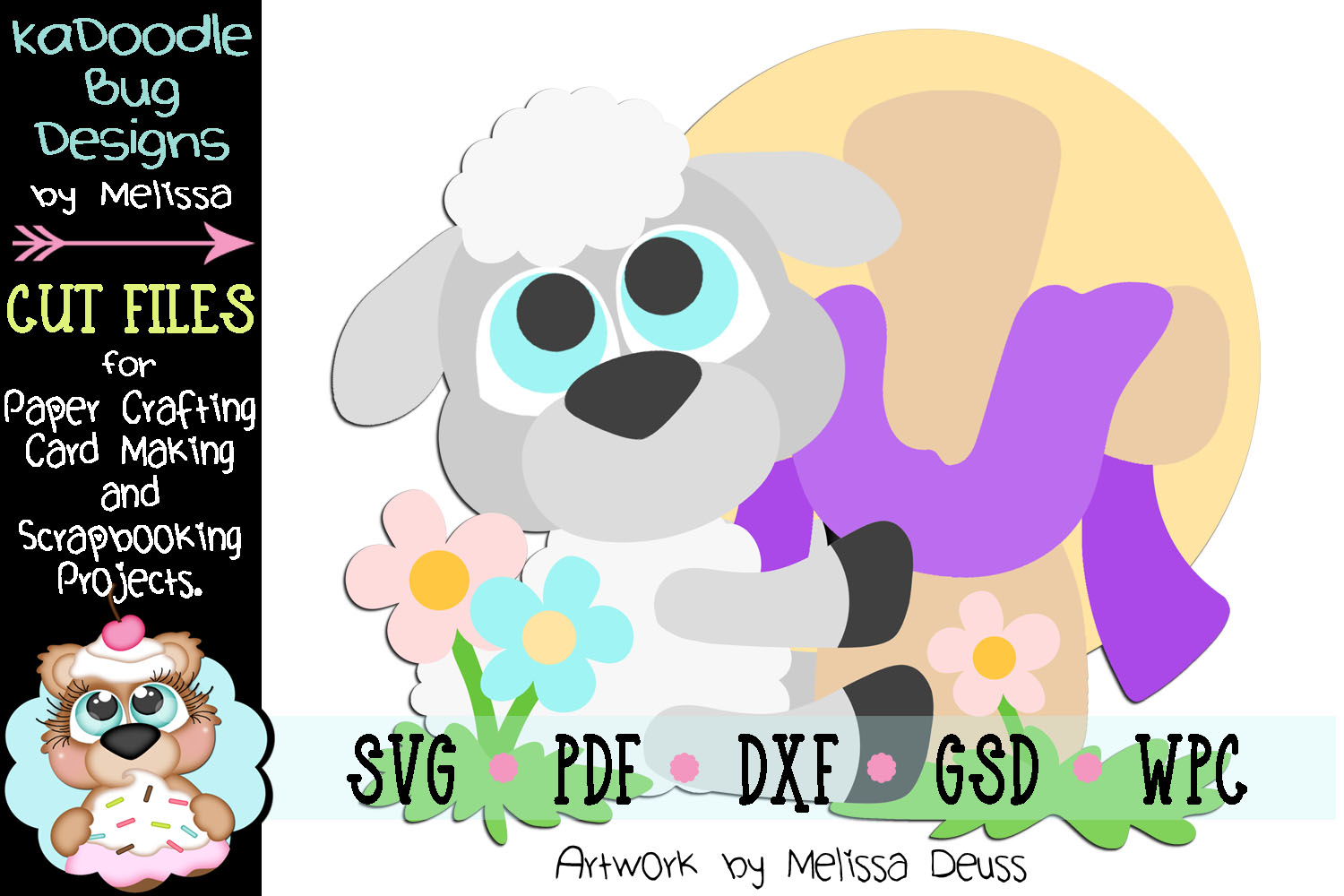 Spring Easter Lamb Cut File - SVG PDF DXF GSD WPC example image 1