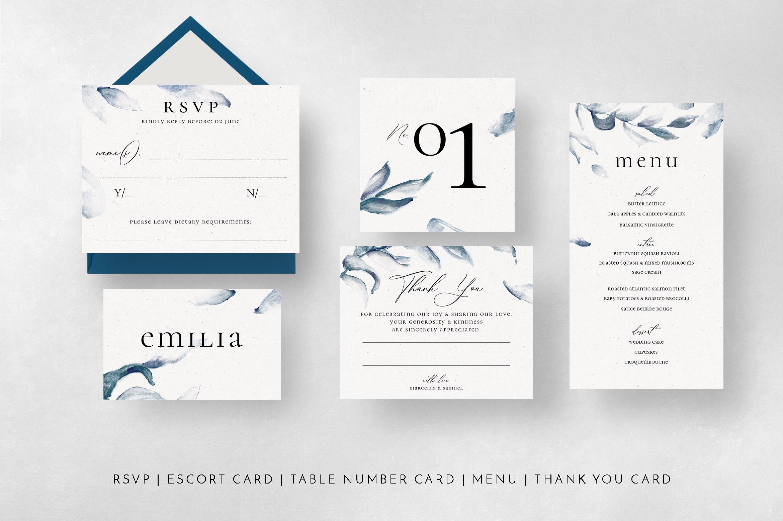 Elegant Blue Watercolor Sprig Wedding Suite example image 9