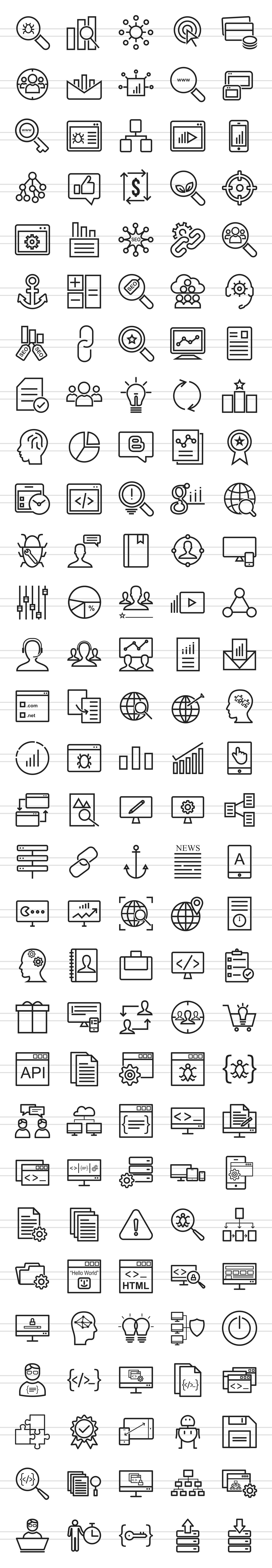 150 SEO & Development Line Icons example image 2