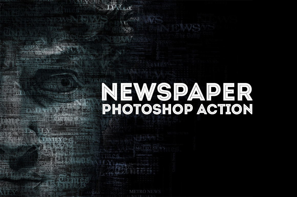 Newspaper Text Photoshop Action example image 2