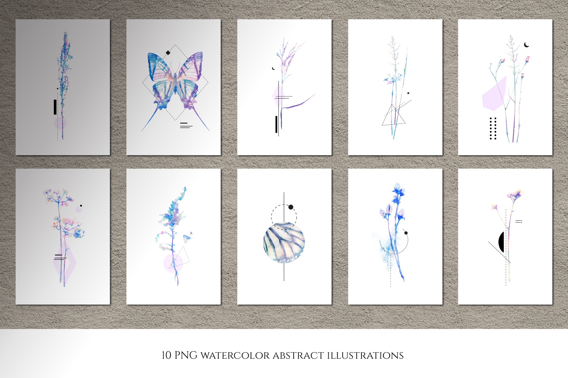 Watercolor floral design collection, herbal and ice example image 12