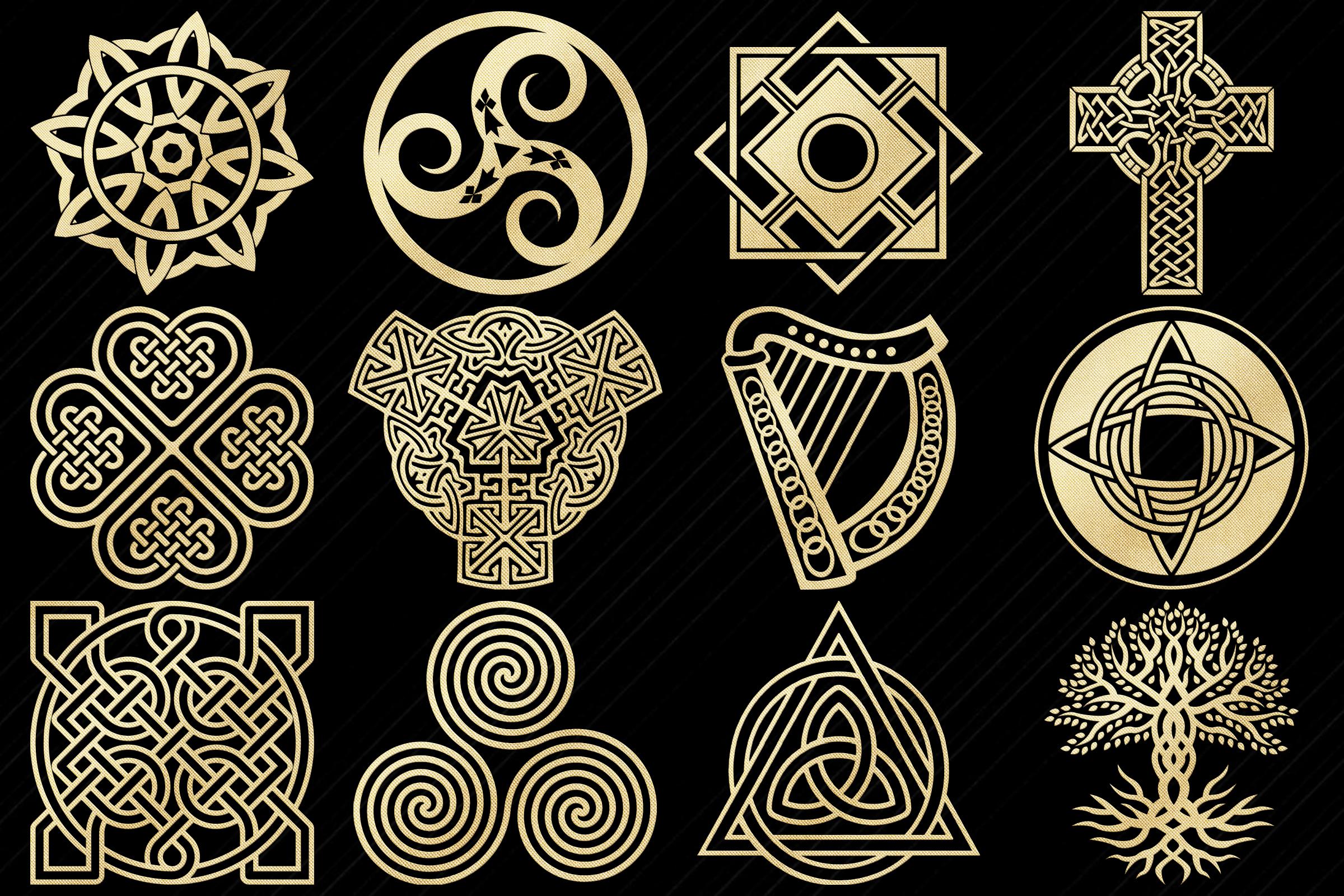 Gold Foil Celtic Symbols, Knots, Crosses Clip Art example image 2