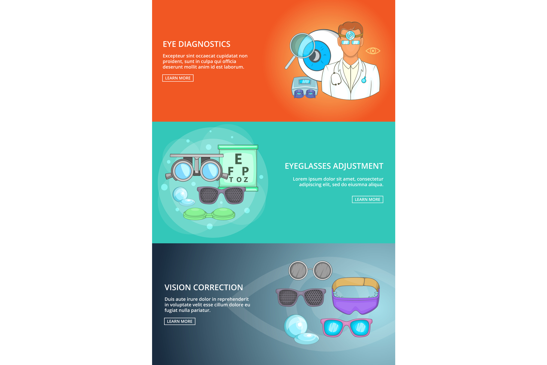 Ophthalmologist technology banner set template example image 1