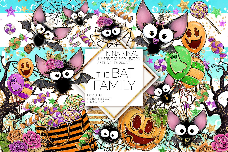 Cute Halloween Clipart, Bats Clip Art PNG Pack example image 1