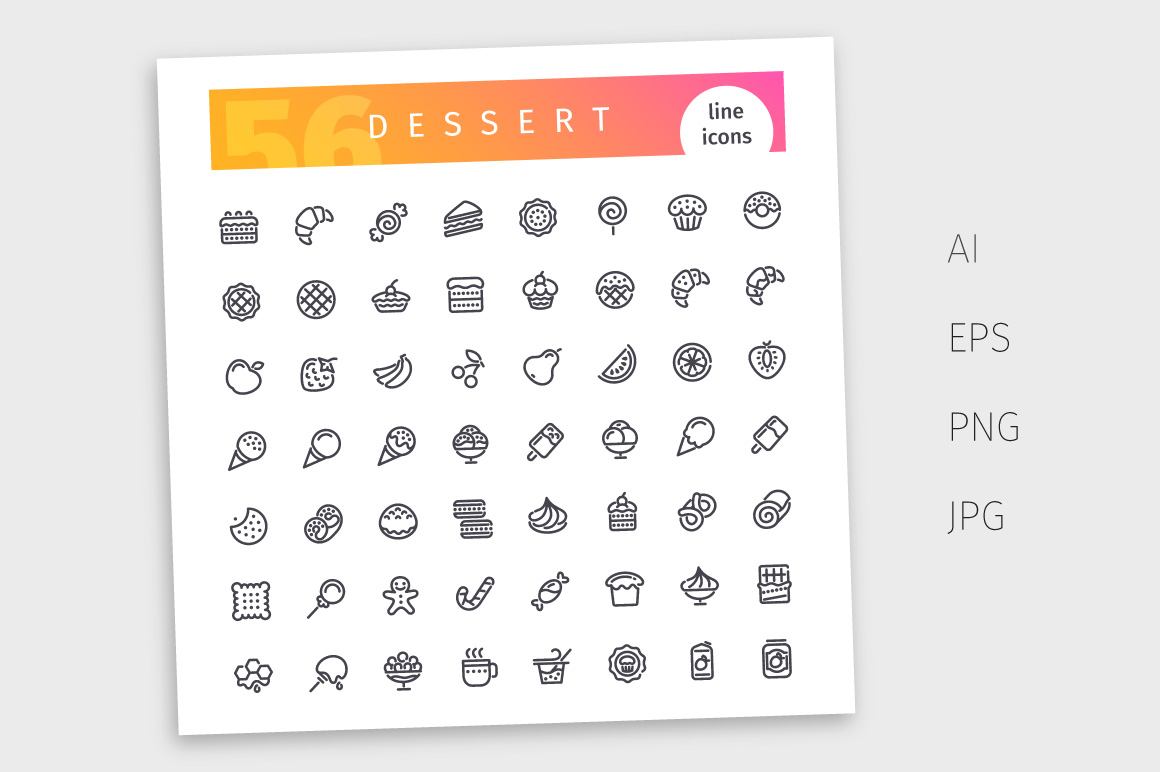 Dessert and Sweet Pastry Line Icons Set example image 4