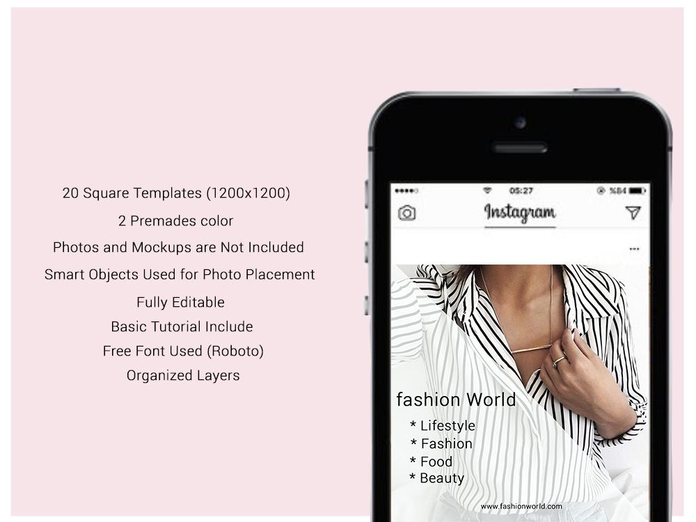 Fashion Social Media Pack, Social Media Bundle, 20 Square Social Media Templates, Instagram Template Pack, Social Media Graphics Pack example image 2