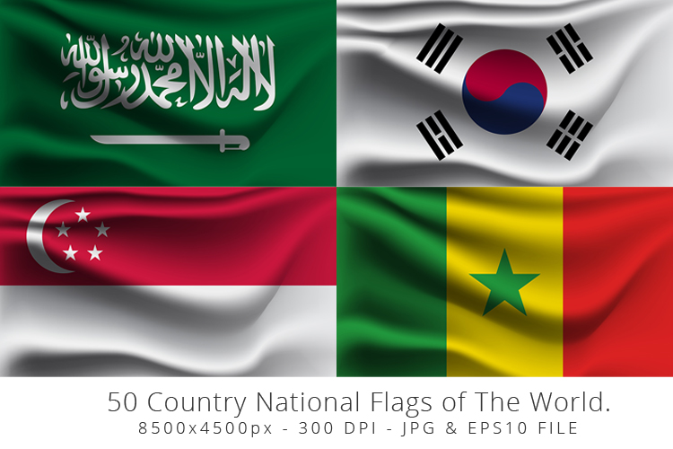 Realistic waving 50 Country National Flags of The World. example image 11