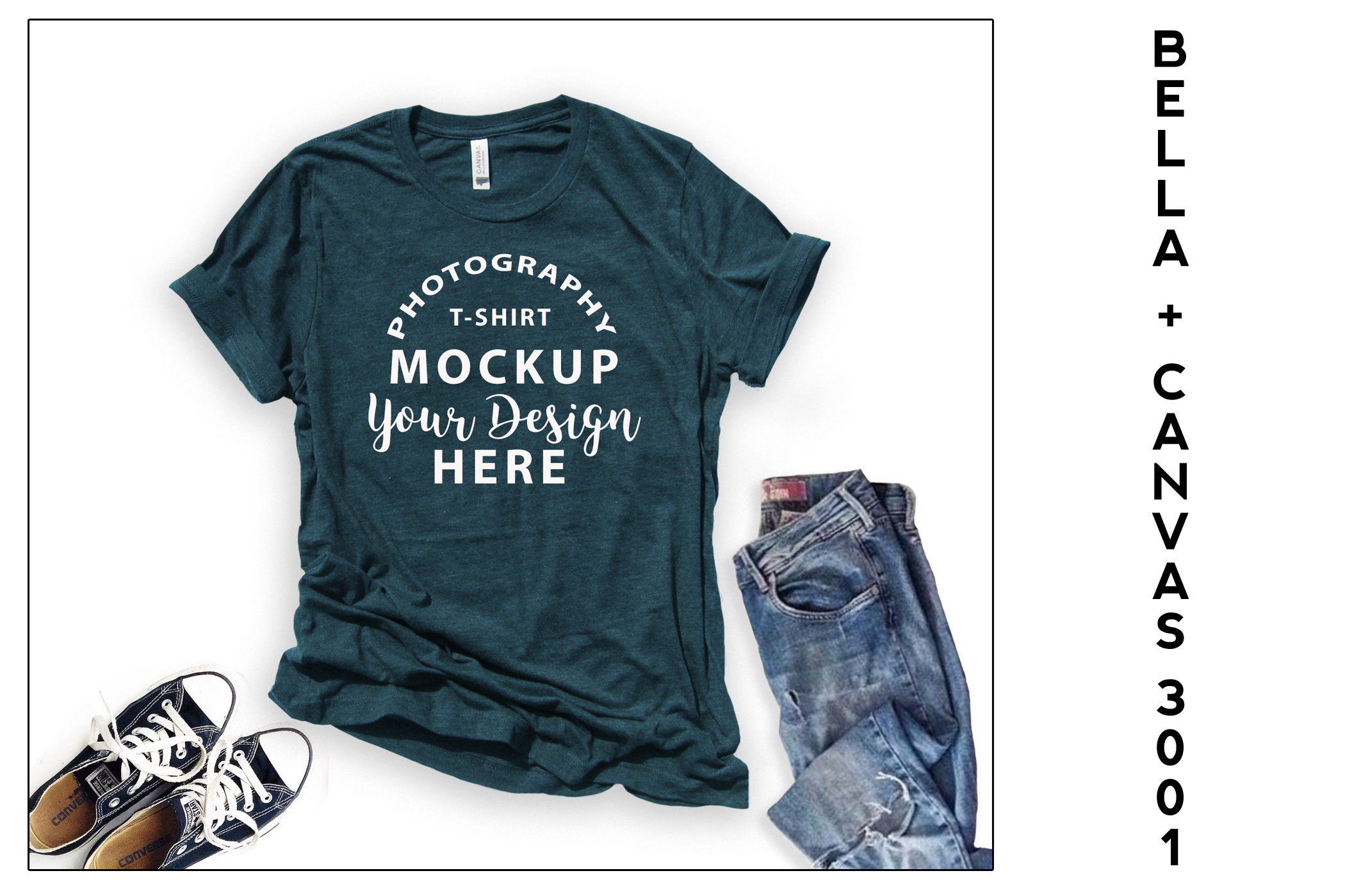 Bella Canvas 3001 T-shirt mock-up, color Heather Deep Teal example image 1