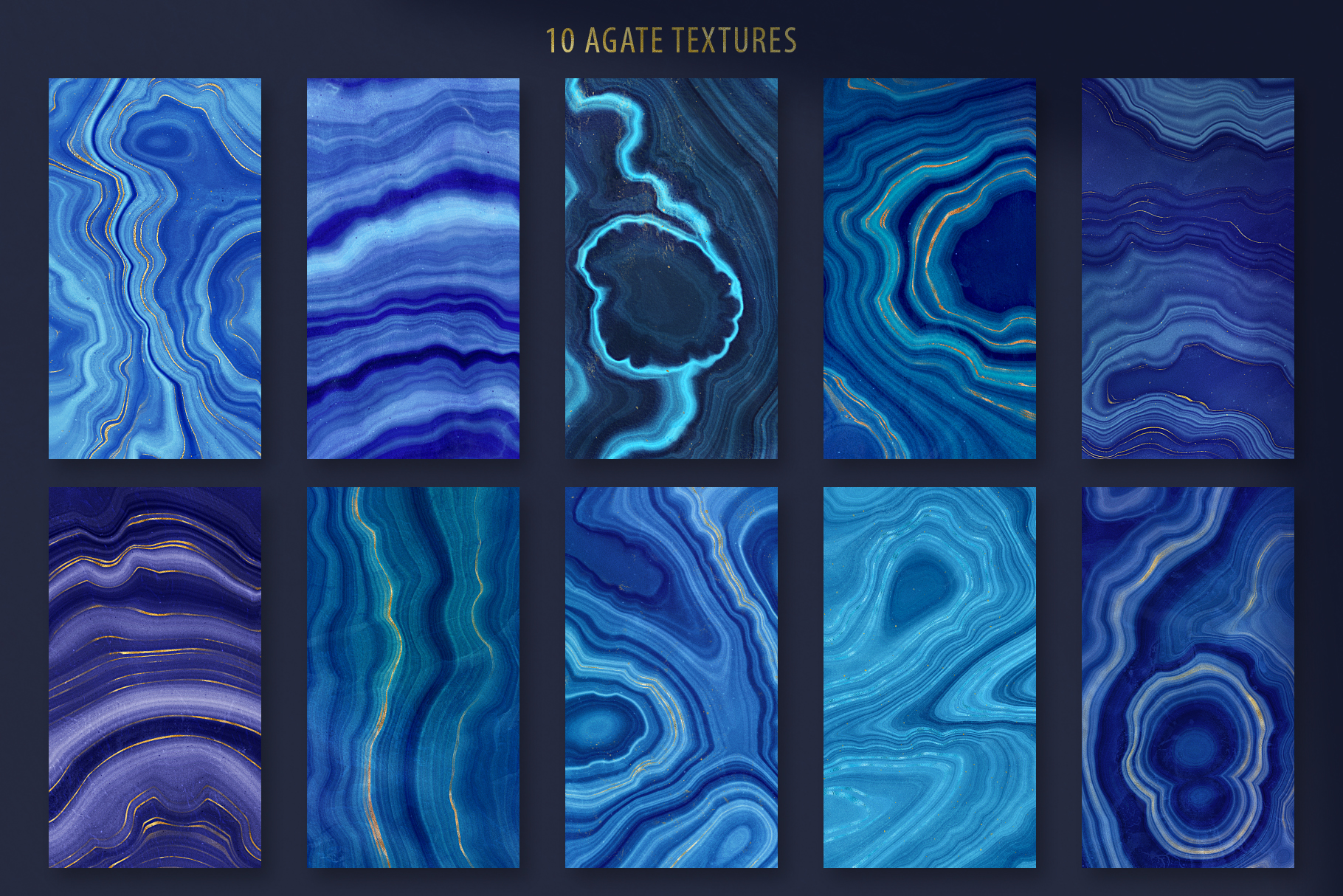 Blue & Gold Agate Geode Textures - 20 Digital Papers example image 2