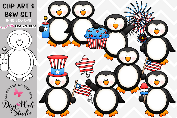 Clip Art / Illustrations - 4th of July Penguins example image 1