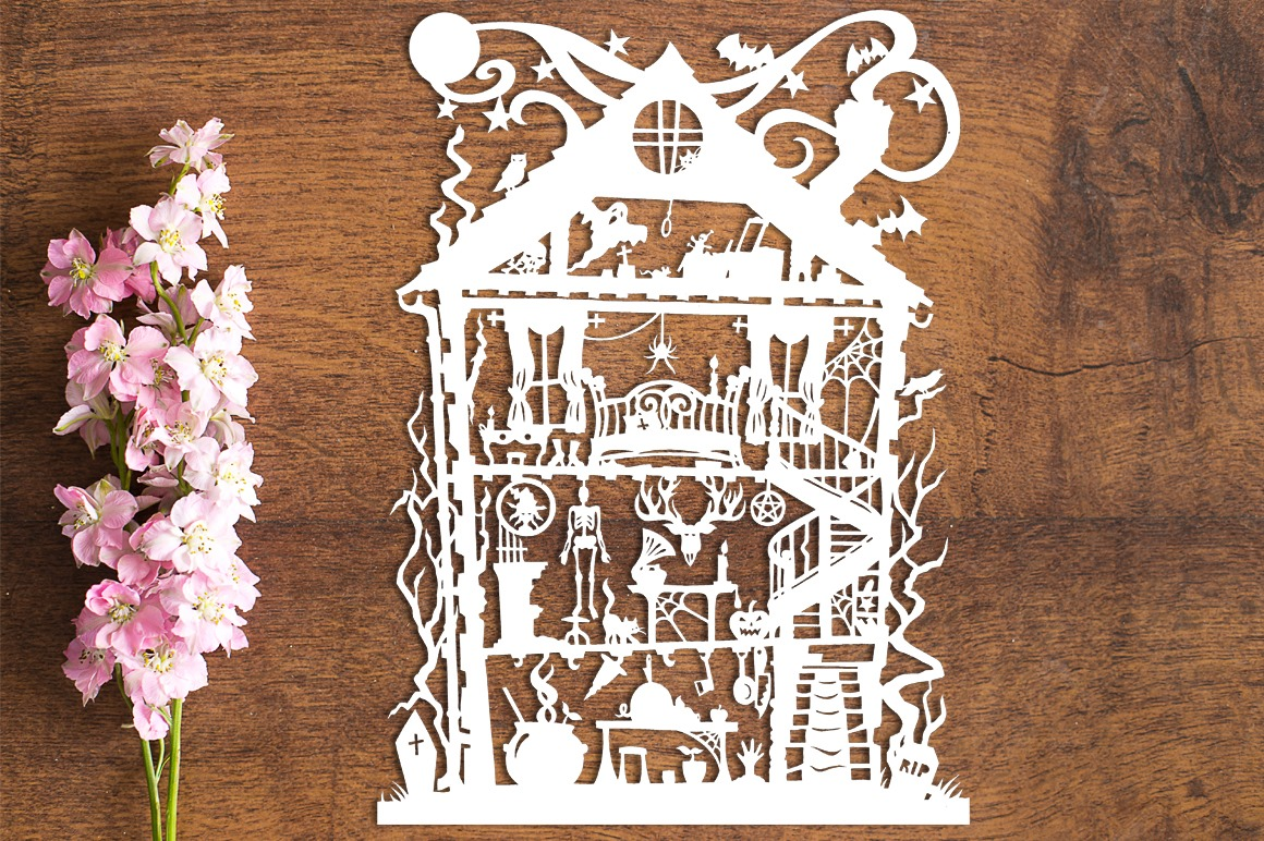 Halloween House - Paper Cutting Template example image 1
