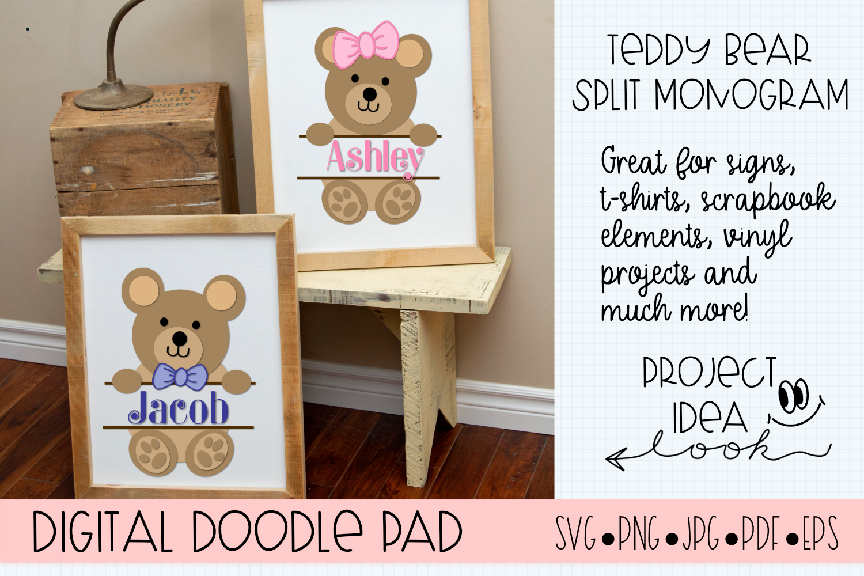 Teddy Bear SVG Split Monogram | Silhouette & Cricut Cut File example image 2