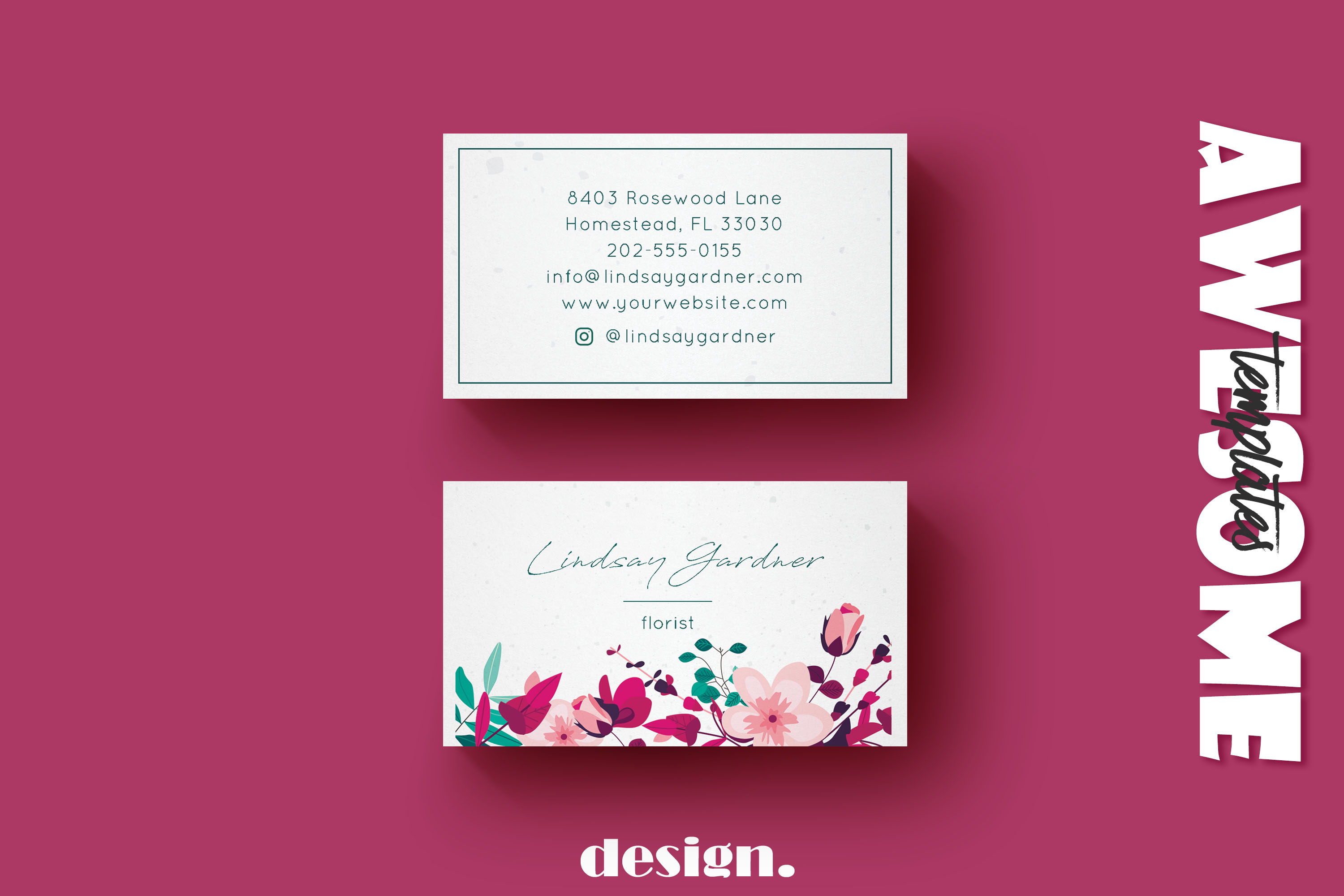 Floral Business Card example image 1