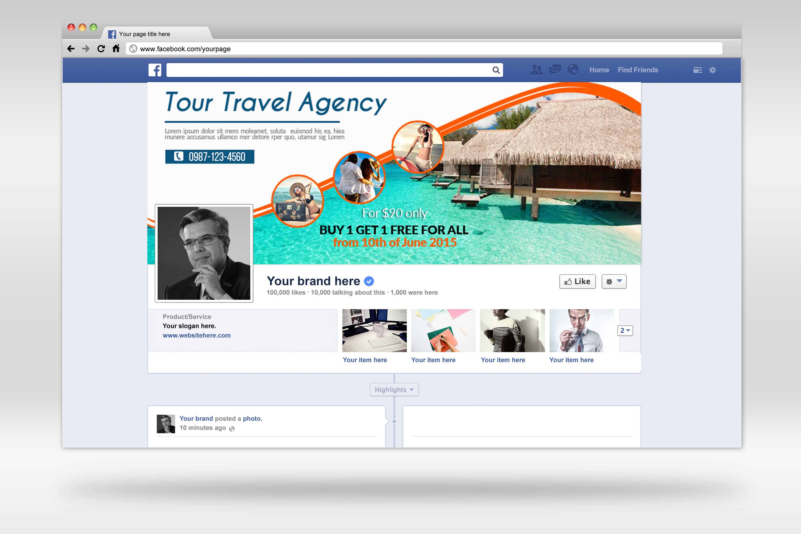 Tour & Travel Facebook Timeline Cover example image 2