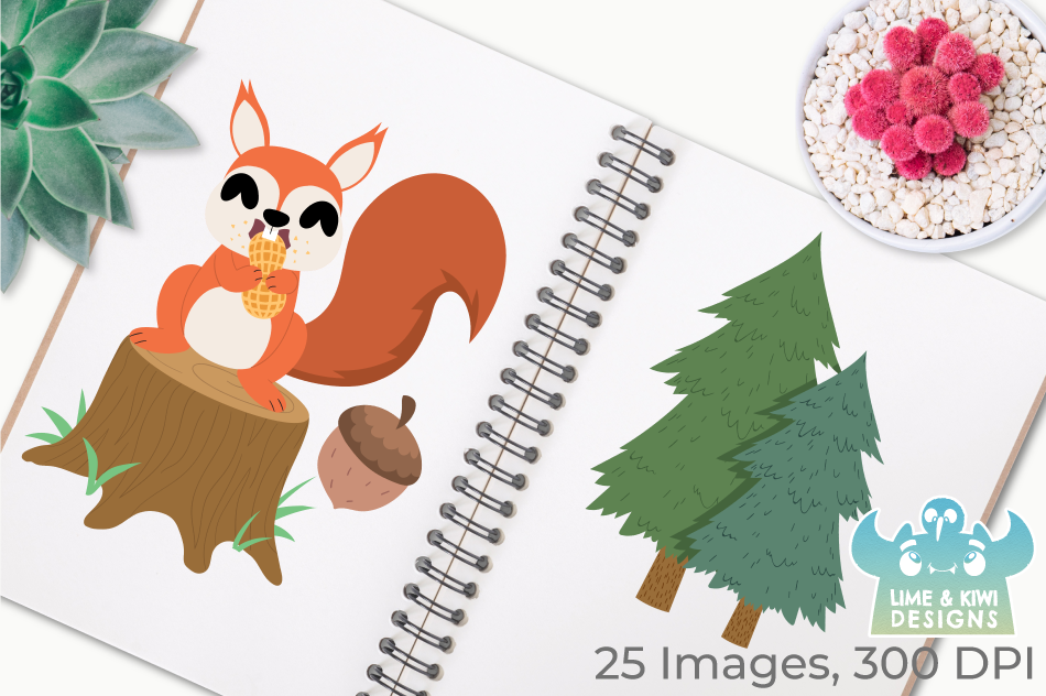 Squirrel Boys Clipart, Instant Download Vector Art example image 3