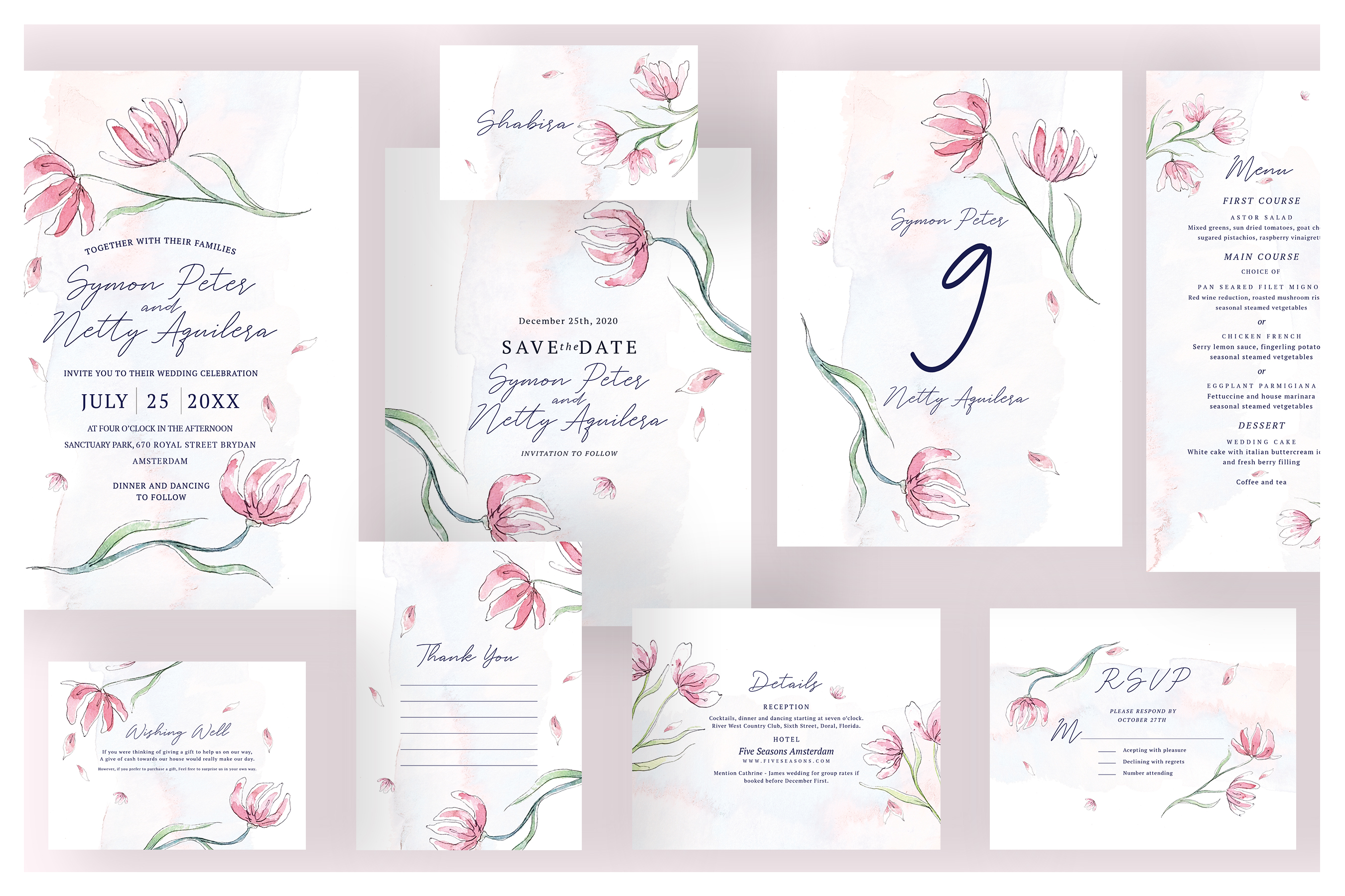 Pink Floral Wedding Invitation Suite example image 1