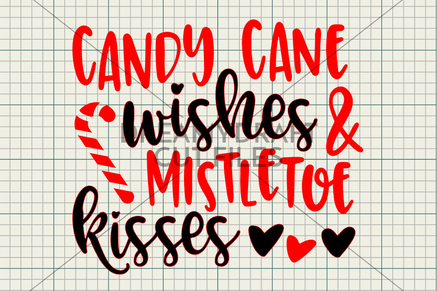 Candy cane wishes & mistletoe kisses SVG & DXF cut file example image 2