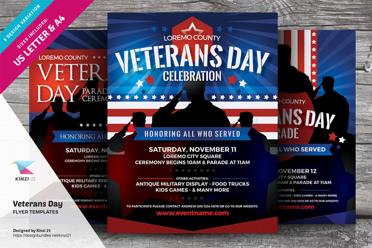 Veterans Day Flyer Templates example image 1