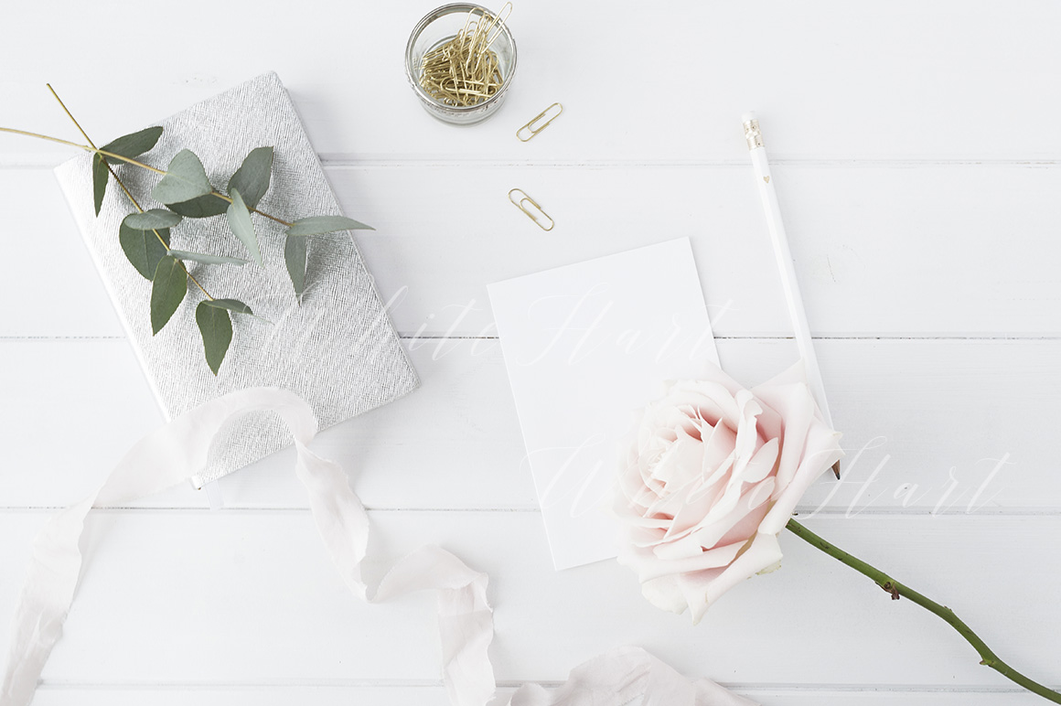 Blogger floral desk stock photo example image 1