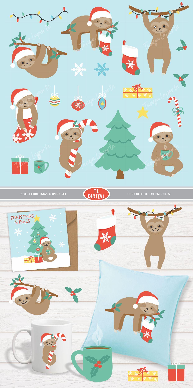 Sloth Christmas Clipart Set - 21 Christmas Graphics example image 3