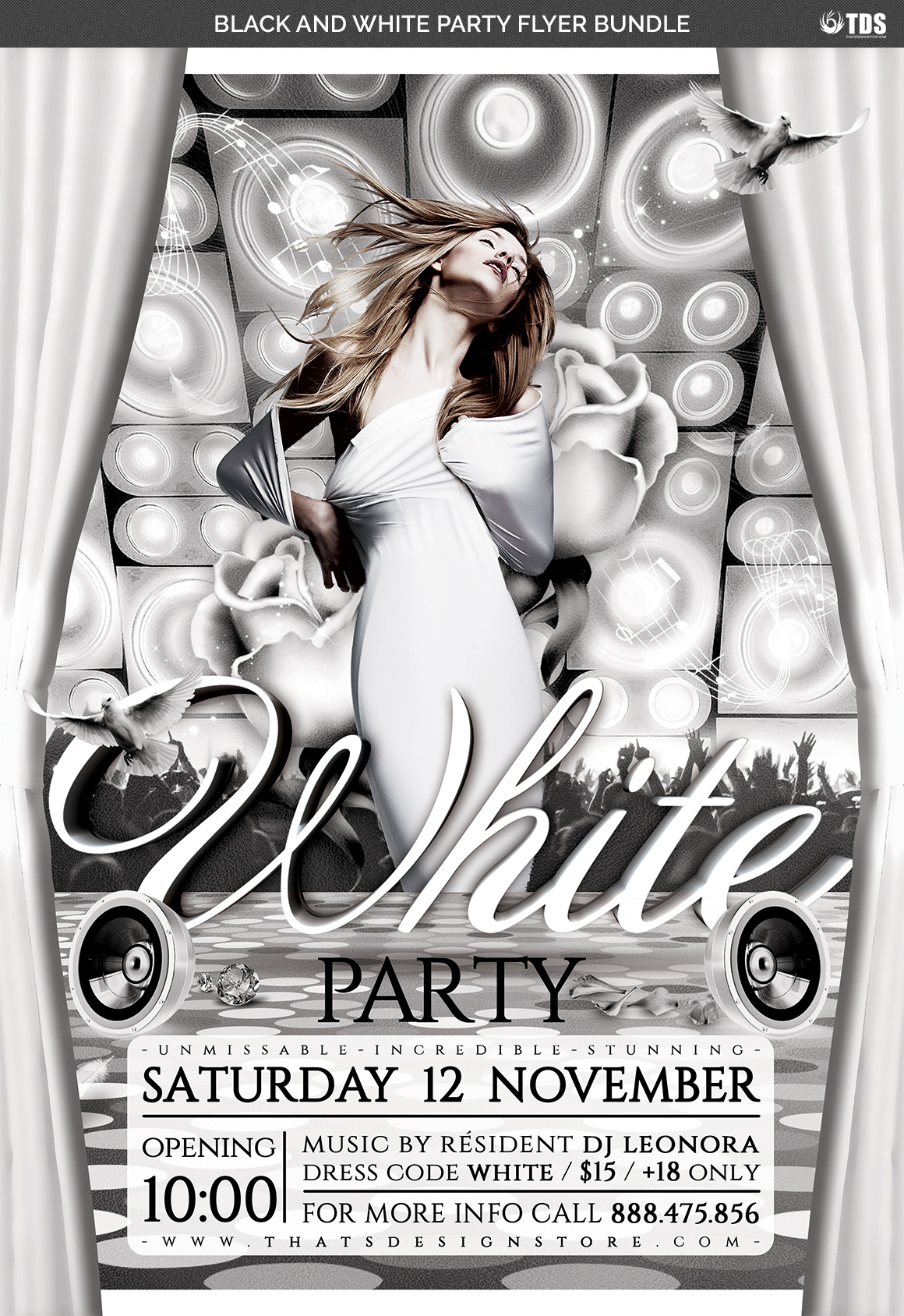 Black and White Party Flyer Bundle example image 5
