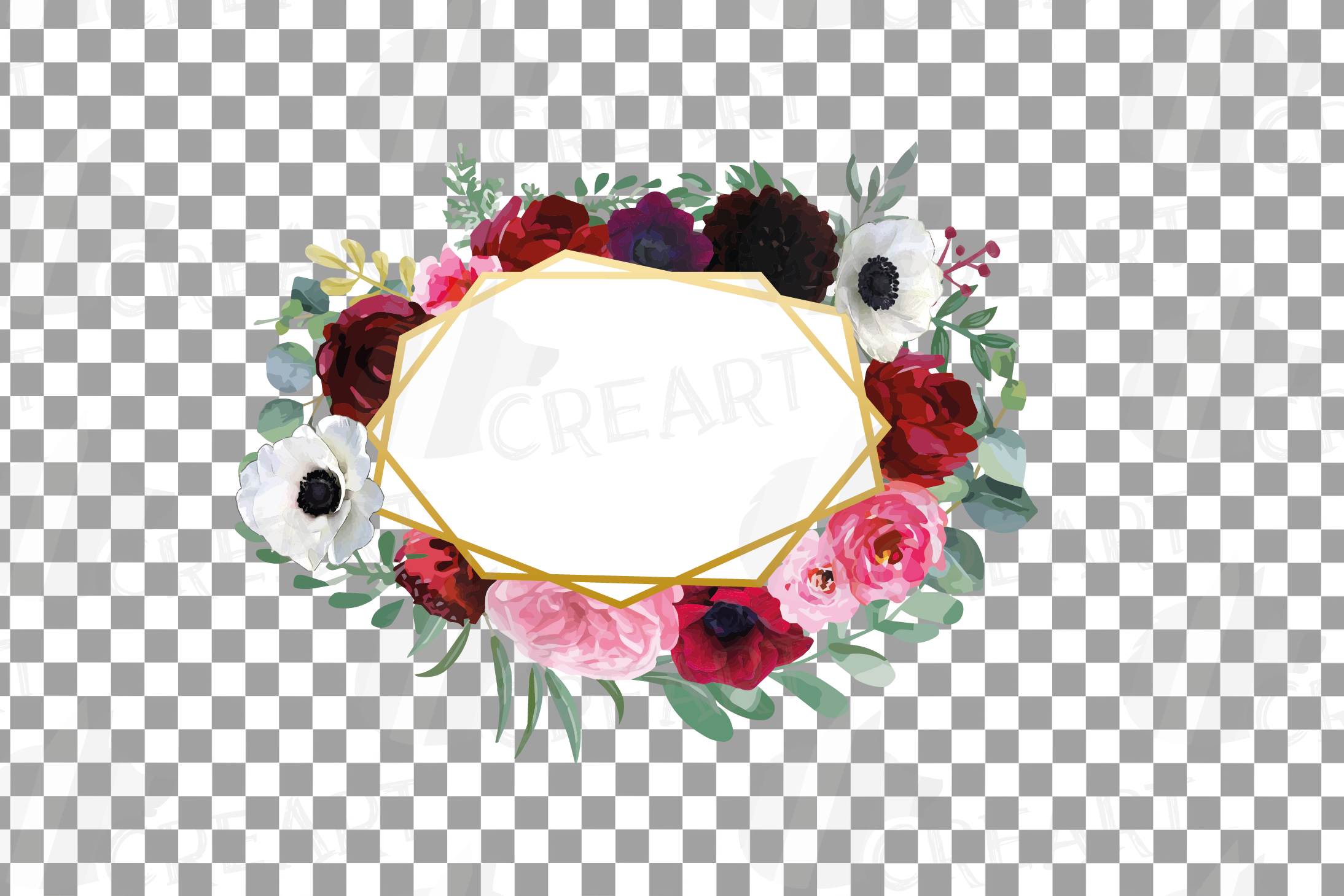 Watercolor elegant floral borders, rose, anemone frames example image 9