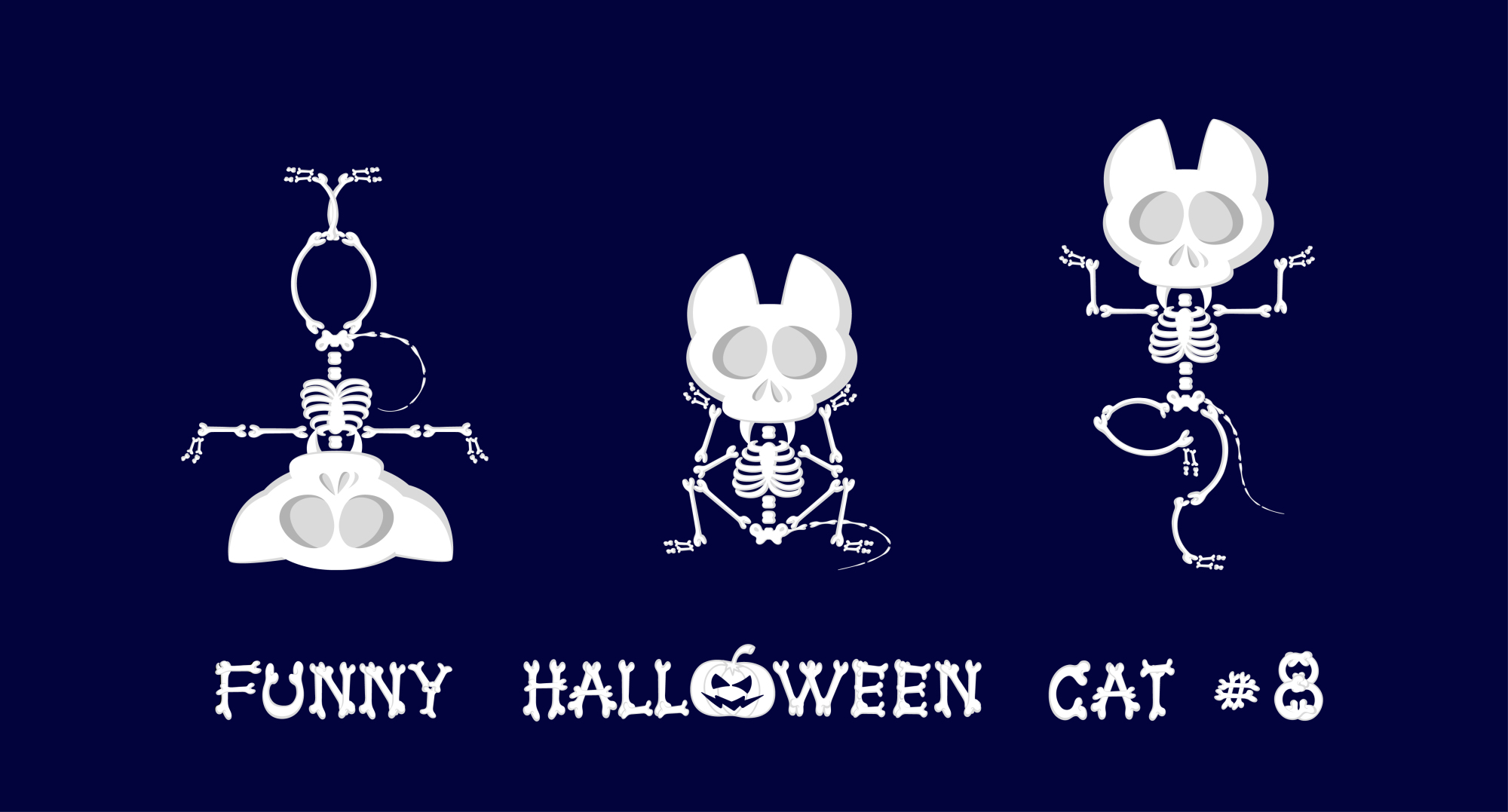 Set of 9 funny skeletons cats - 3 example image 2