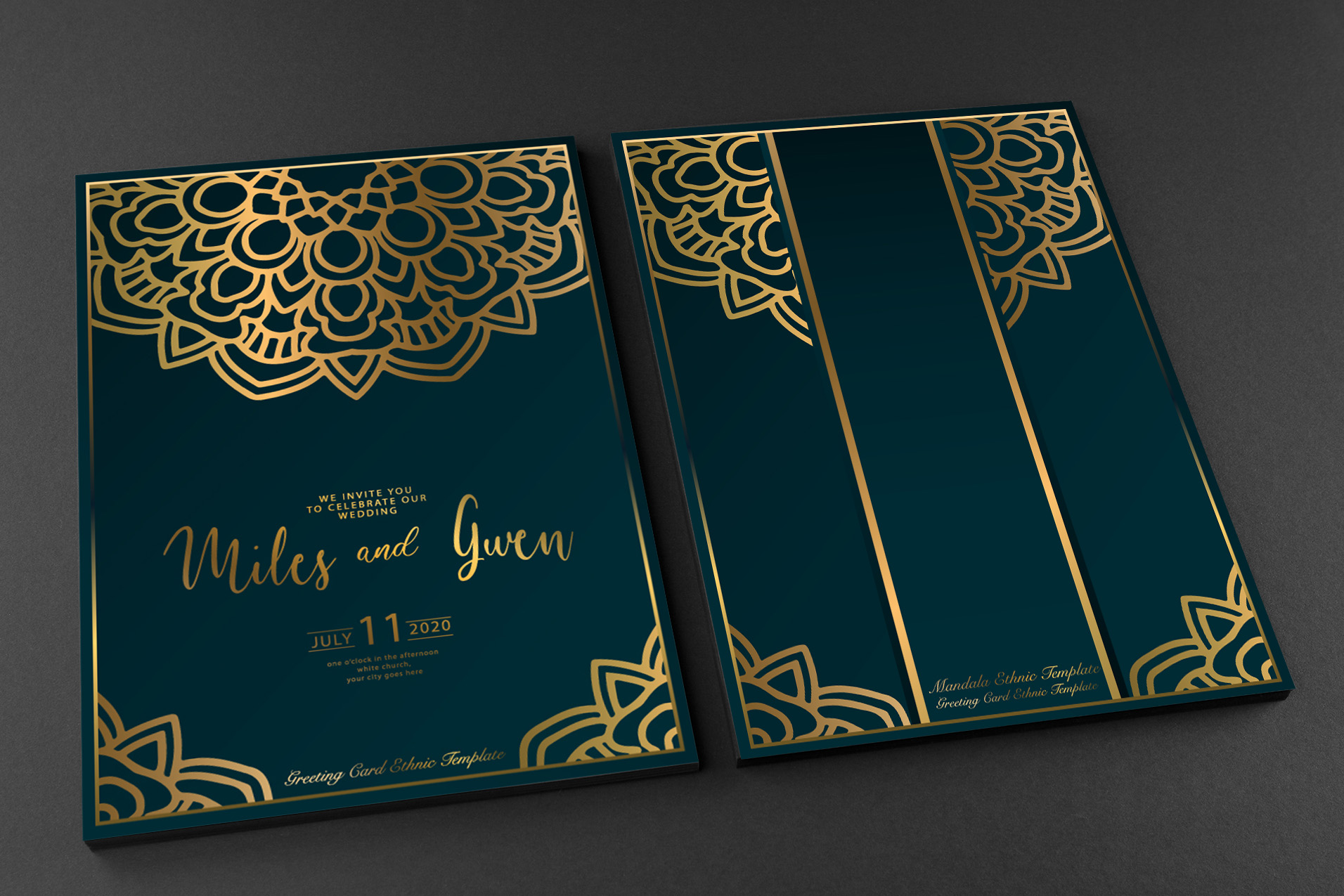Luxury Gold Invitation Template with Golden Floral Mandala