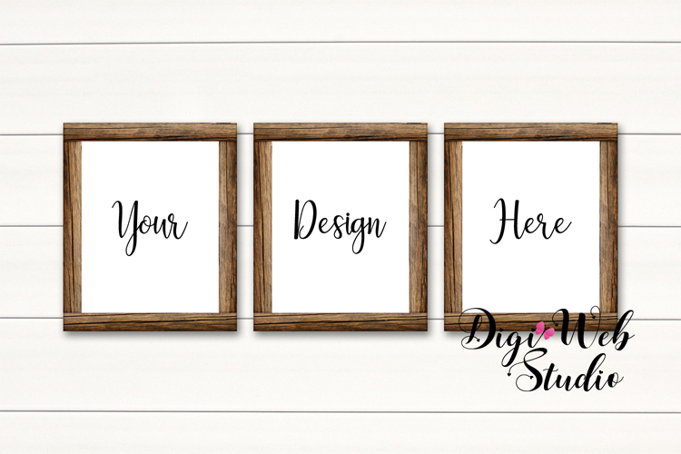 Wood Signs Mockup Bundle - 10 Wood Frames on White Shiplap example image 10