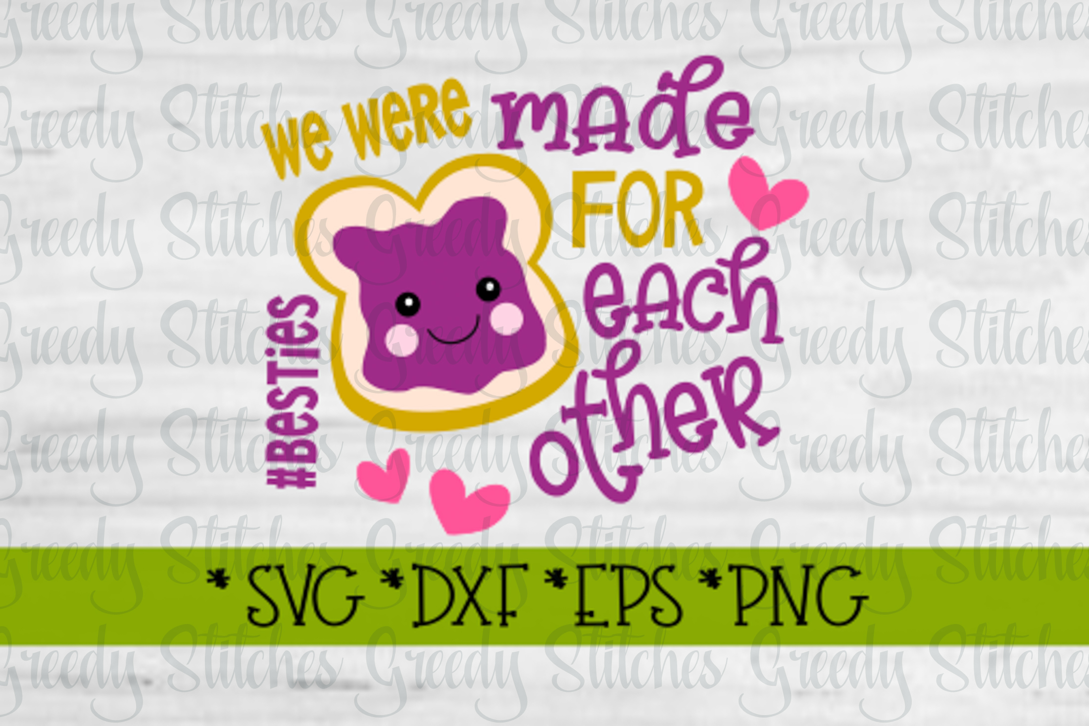 Peanut Butter & Jelly SVG DXF EPS PNG | Best Friends SVG DXF example image 2