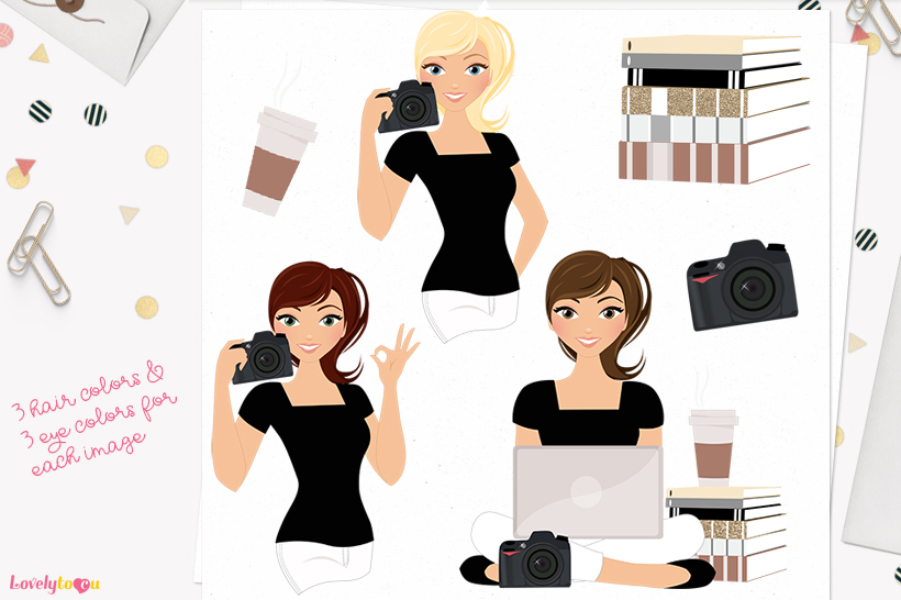 Woman photographer character clip art L195 Piper example image 1