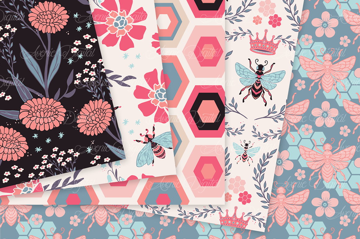 Coral Bee Garden Seamless Vector Patterns and Digital Paper example image 3