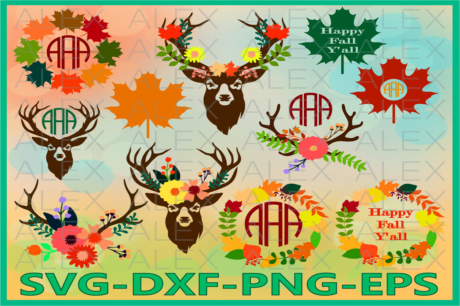 Autumn Svg, Fall svg, Happy Fall y'all, Deer Antler Svg example image 1