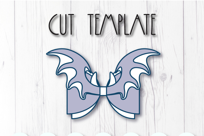 Wings Hair bow template SVG, DIY leather bow template example image 2