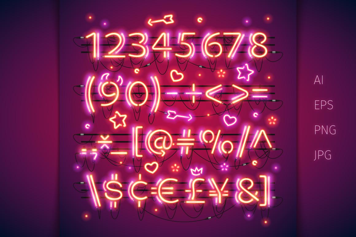 Glowing Valentine's Neon Type example image 3