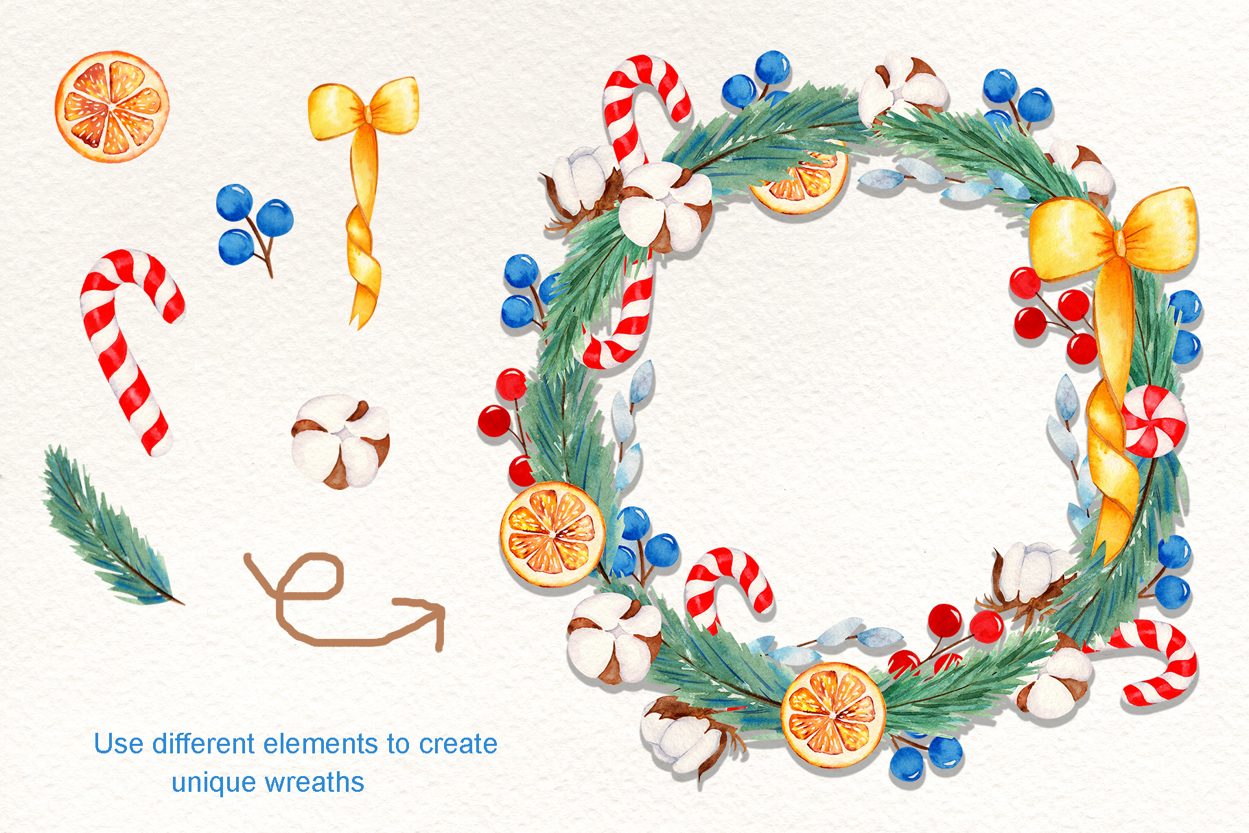 Wreath Creator Watercolor Clipart example image 3