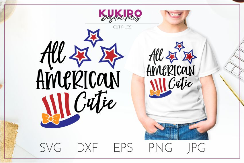 All american cutie SVG - 4th Of July girl shirt cut file example image 1