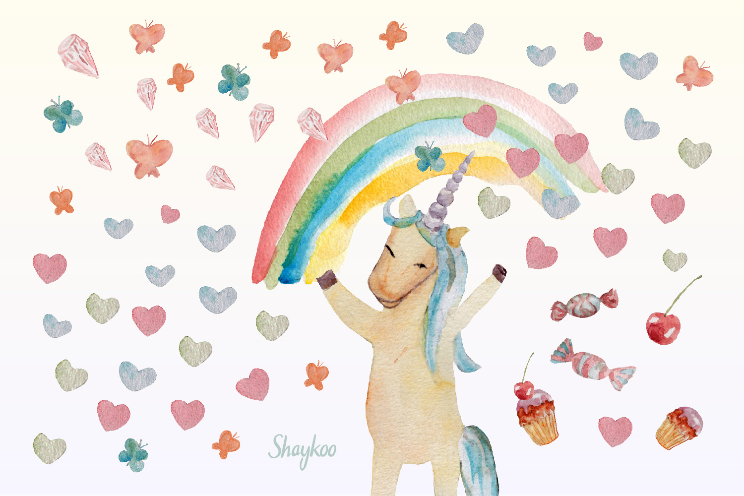 Unicorn Party Clipart, Watercolor Baby Unicorn Clipart example image 4