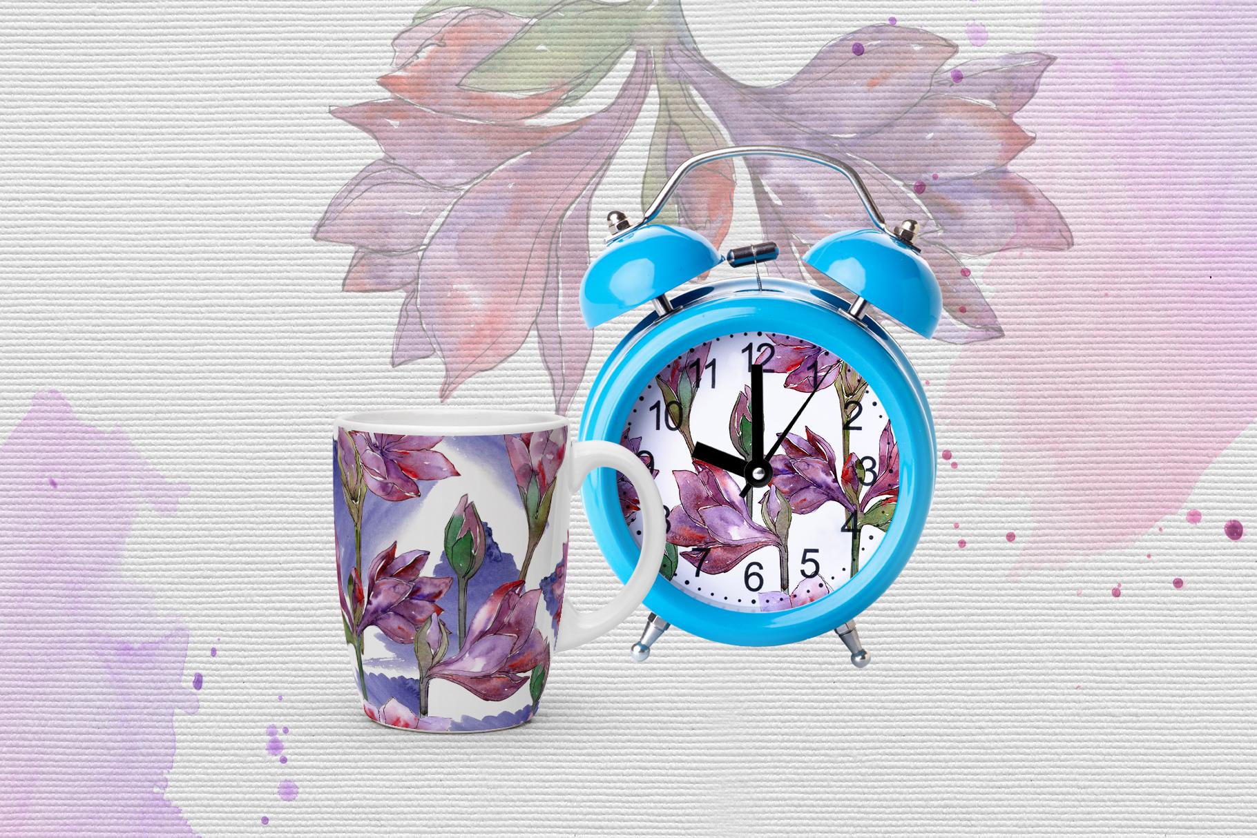 Purple amaryllis PNG watercolor set example image 5