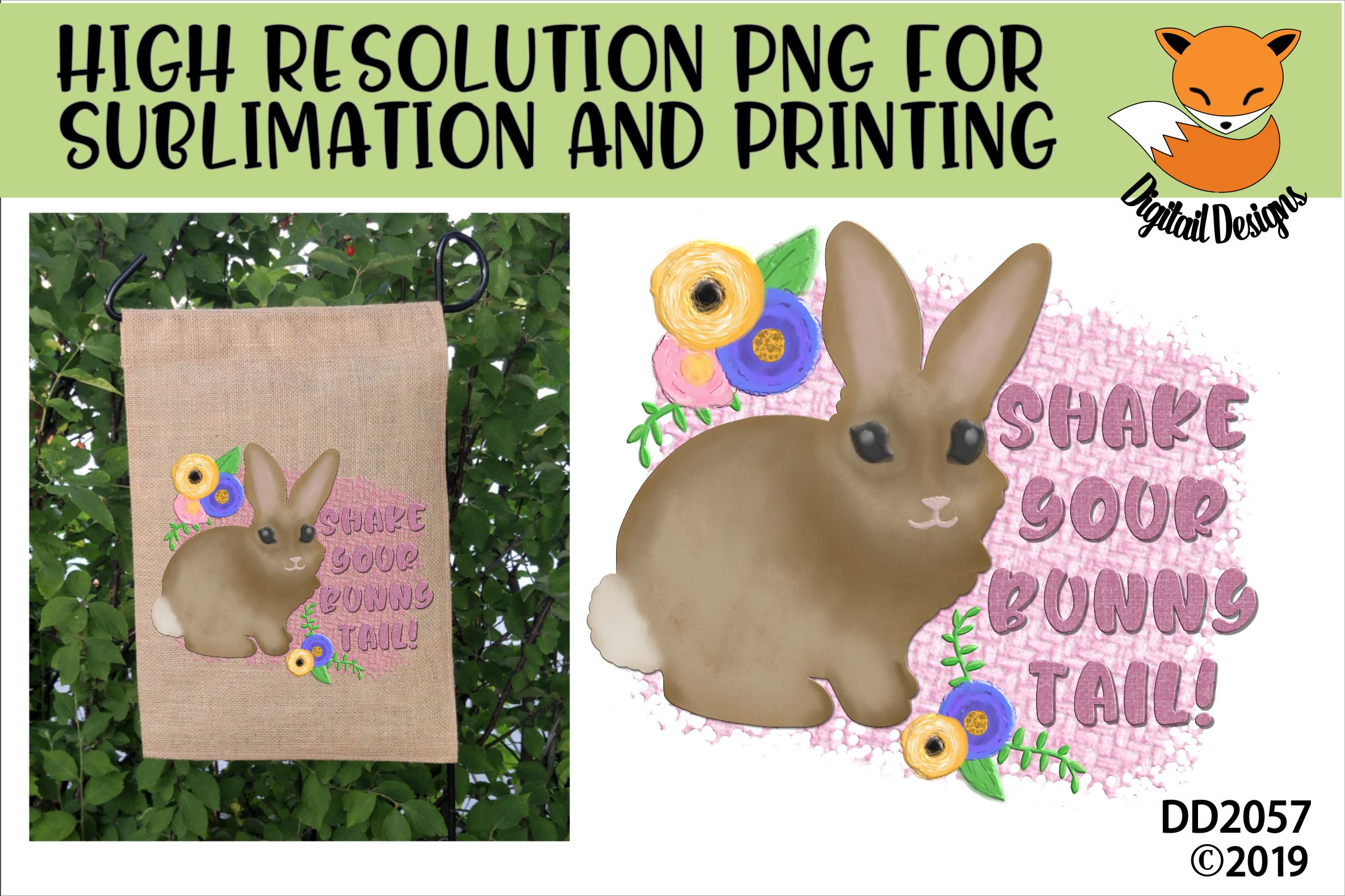 Easter Shake Your Bunny Tail Sublimation Printable example image 1