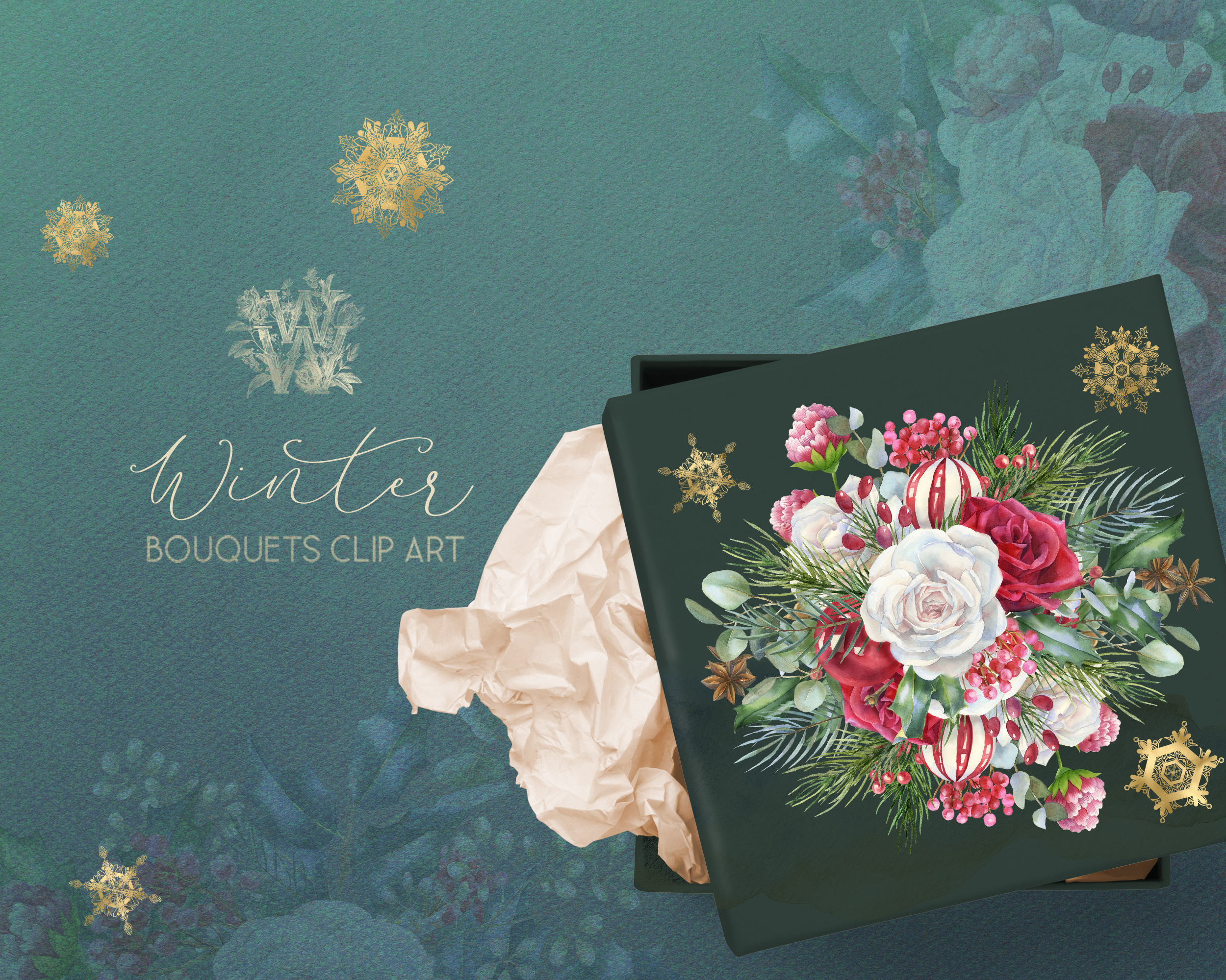 Christmas floral border clipart, Watercolor winter frame example image 6