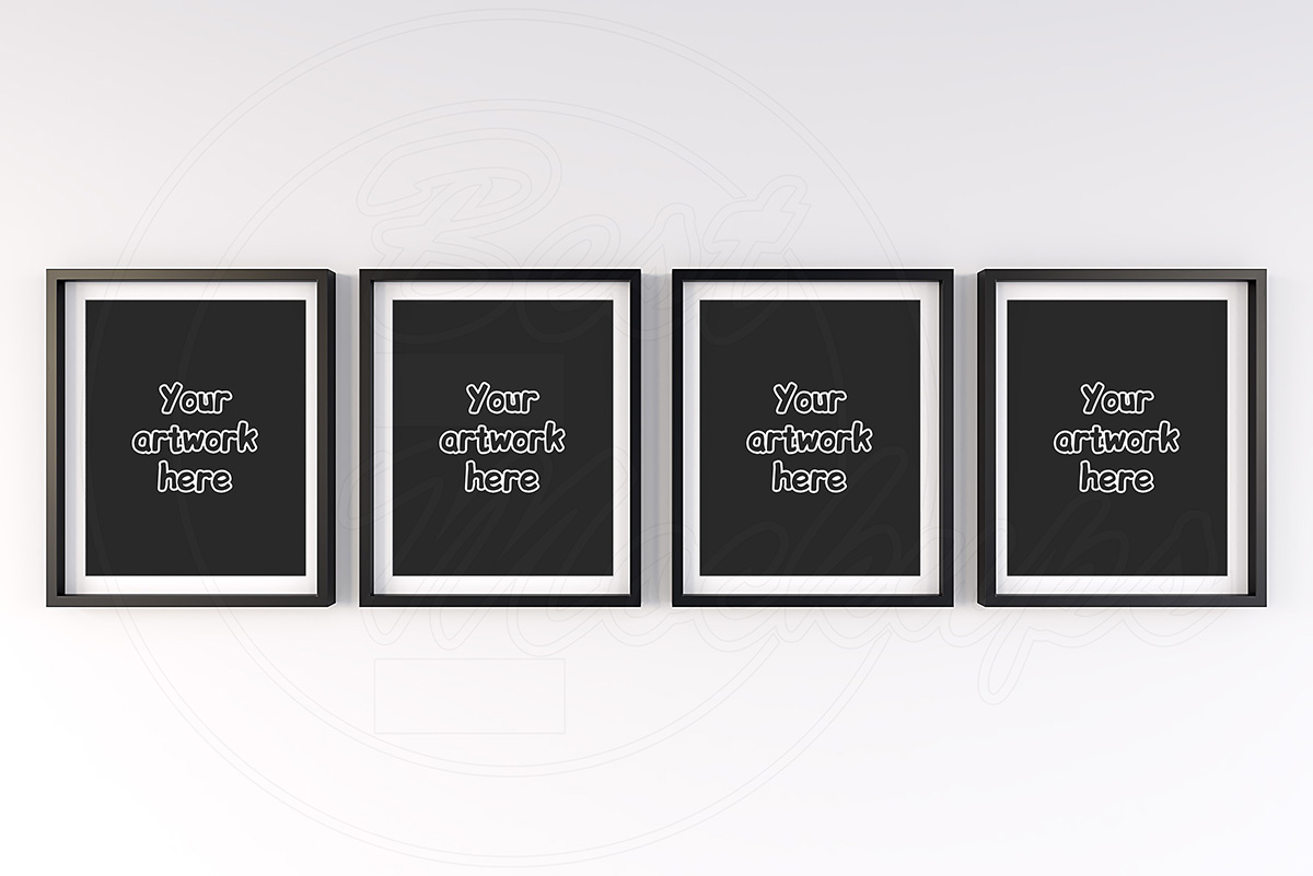 4 matted frames mock-up background example image 1