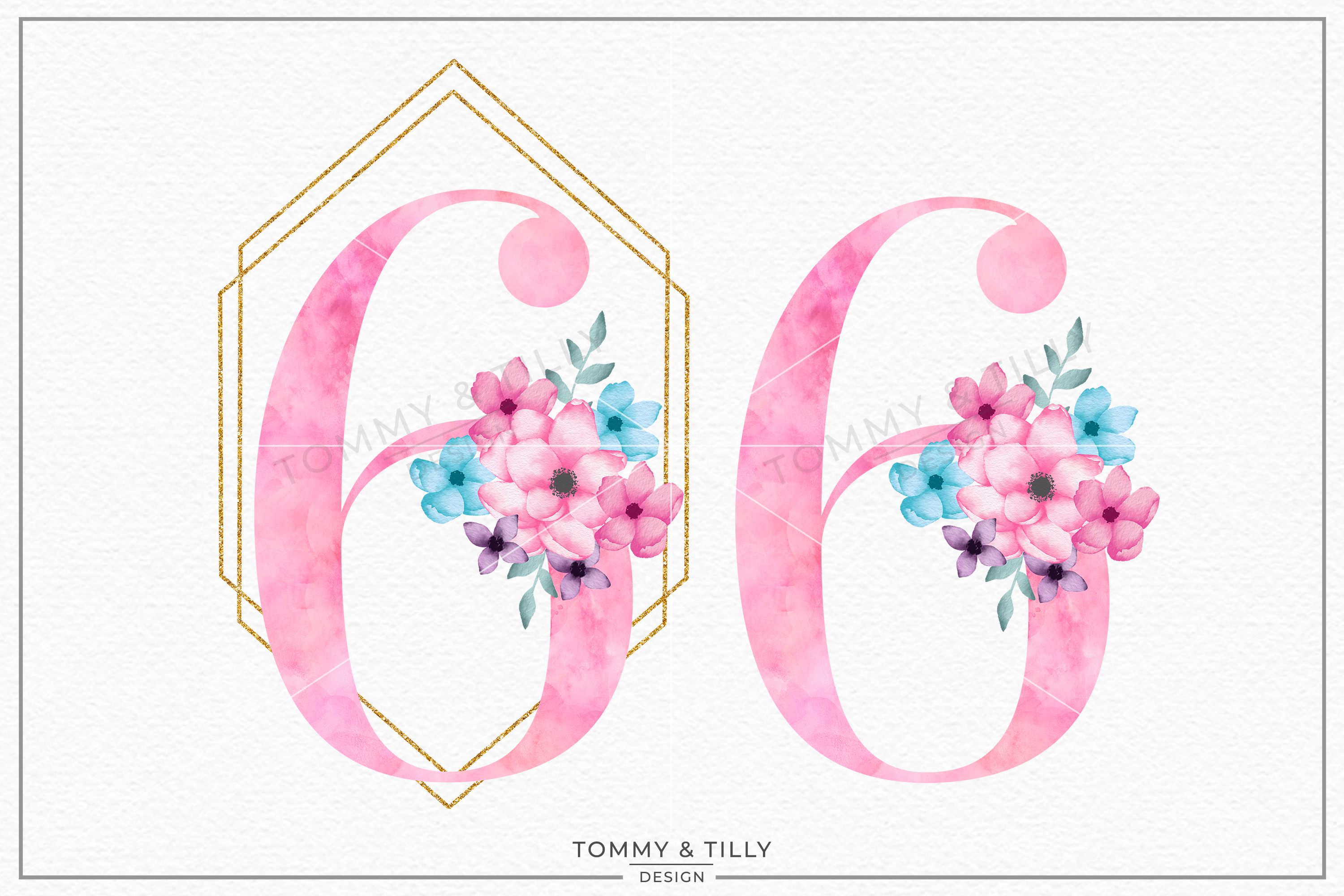 Six Pink Bouquet Birthday Number - Sublimation PNG Clipart example image 2