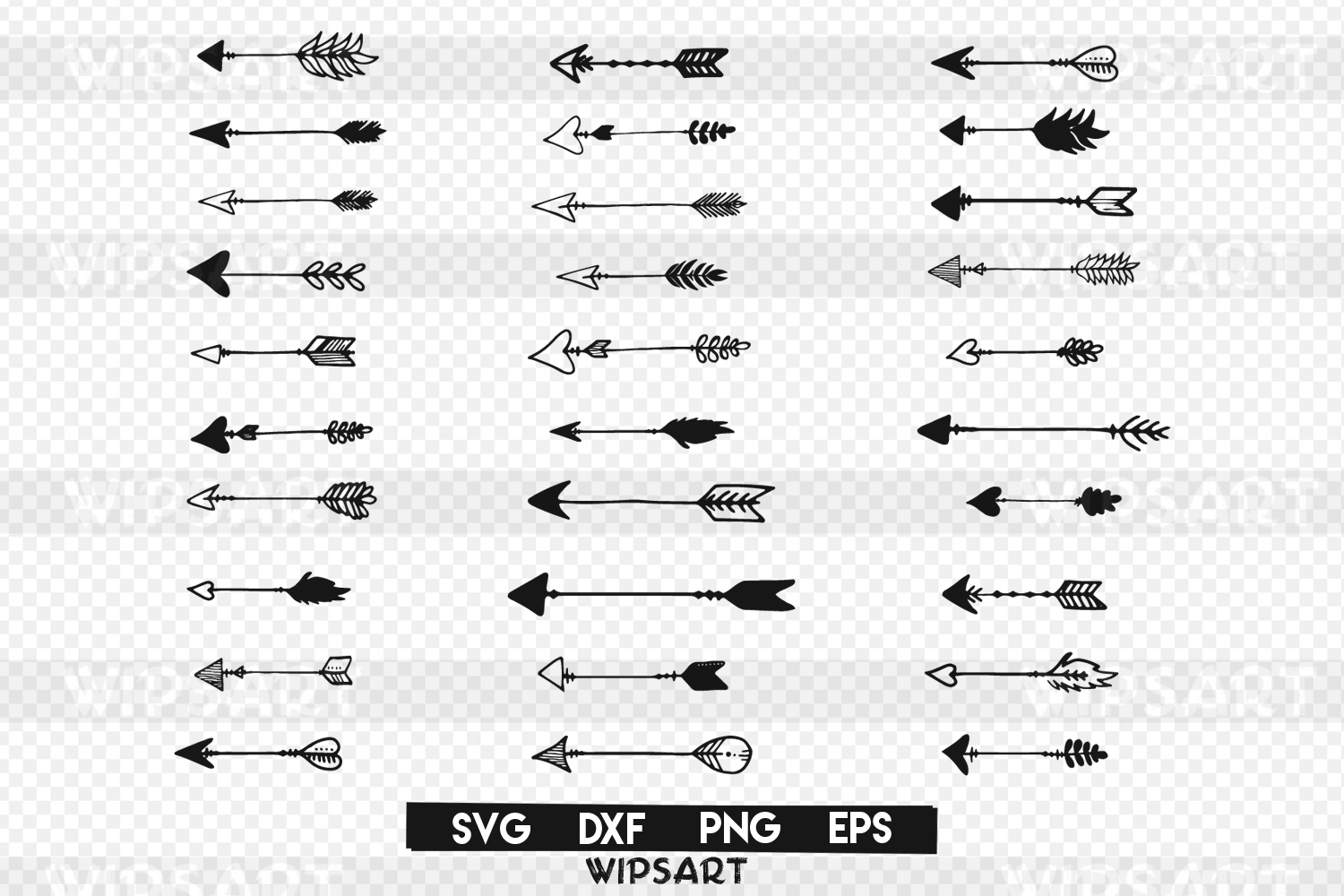 SALE! 30 arrows silhouette text svg file, arrow hand drawing example image 1