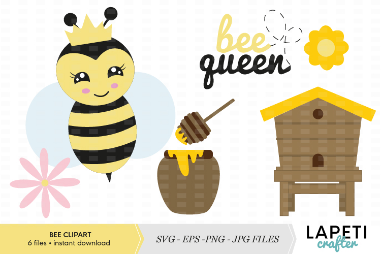 Cute bee vector clipart and illustrations collection example image 1