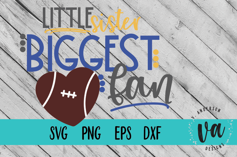Little Sister Biggest Fan Football SVG example image 1