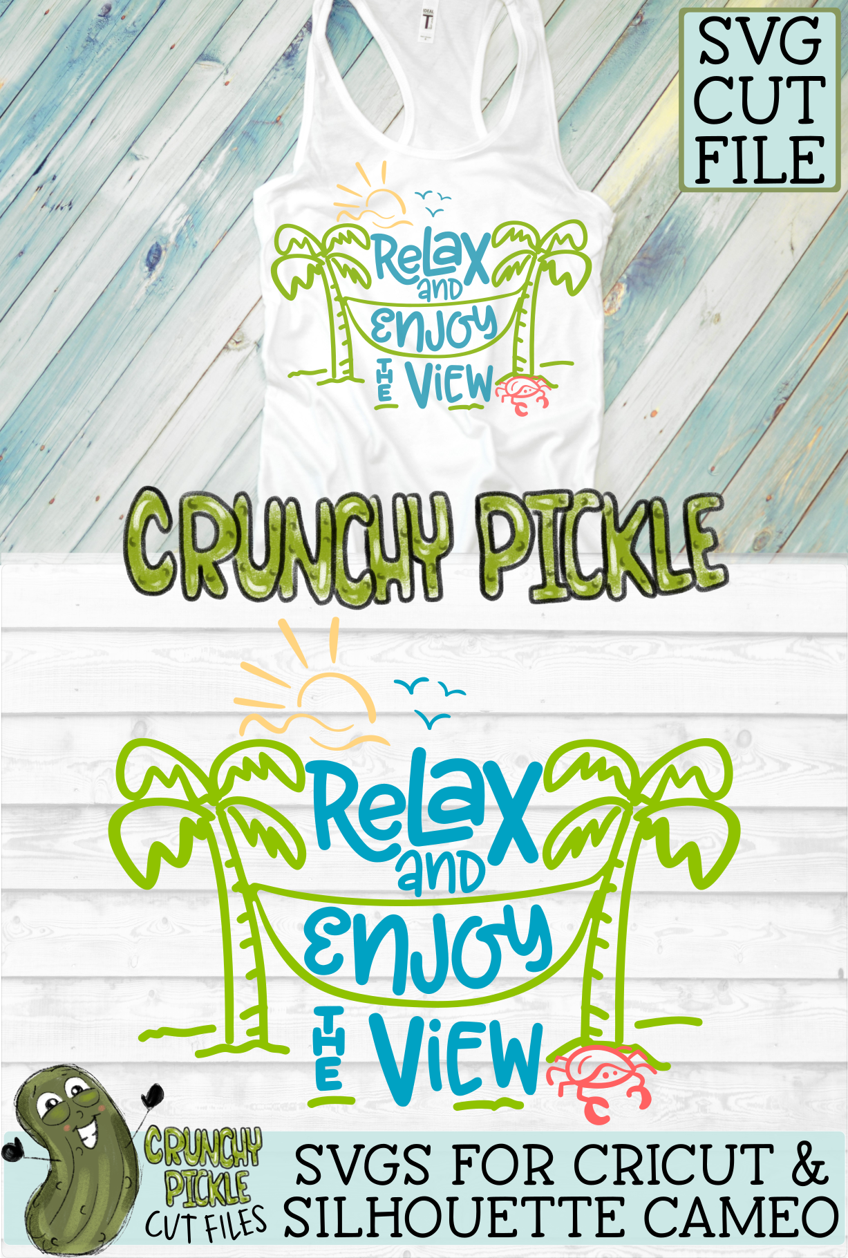 Relax and Enjoy the View Beach Hammock SVG Cut File example image 4