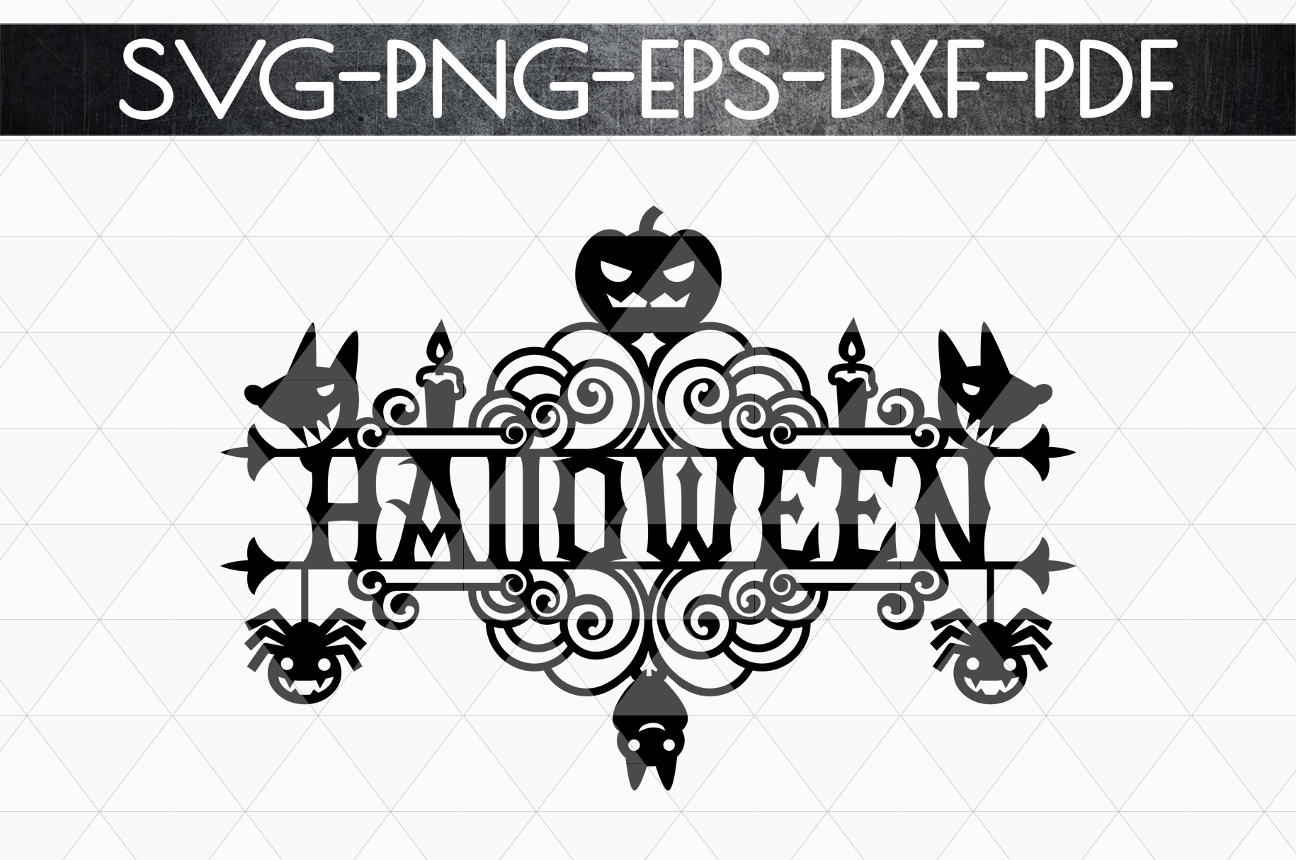 Halloween Sign Design Papercut Template, Spooky SVG, PDF example image 5